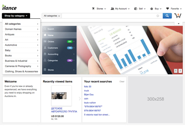 The ILance dashboard, showing visitors, revenue, referrals, and conversion rate