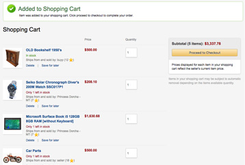 Example of a ILance checkout screen